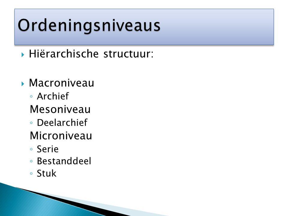 Hiërarchische structuur:  Macroniveau ◦ Archief Mesoniveau ◦ Deelarchief Microniveau ◦ Serie ◦ Bestanddeel ◦ Stuk