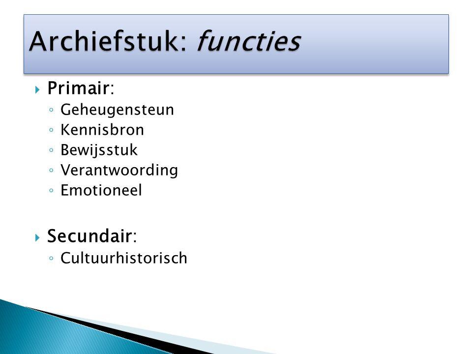  Primair: ◦ Geheugensteun ◦ Kennisbron ◦ Bewijsstuk ◦ Verantwoording ◦ Emotioneel  Secundair: ◦ Cultuurhistorisch