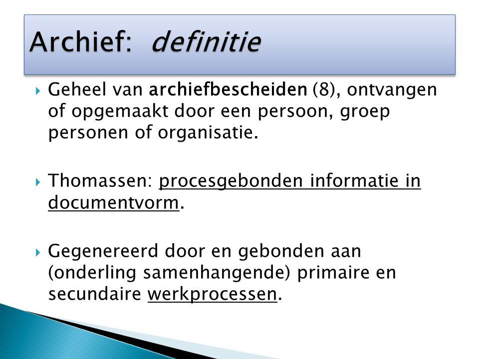  Geheel van archiefbescheiden (8), ontvangen of opgemaakt door een persoon, groep personen of organisatie.  Thomassen: procesgebonden informatie in