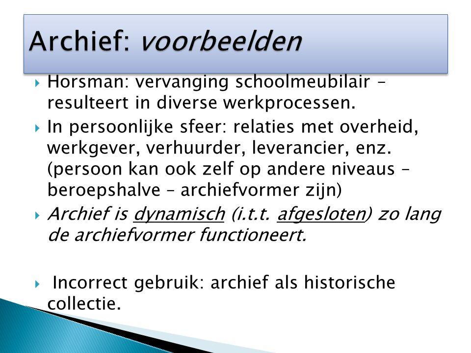  Typen archiefvormers (b.v.overheids-, bedrijfs-, verenigingsarchief).