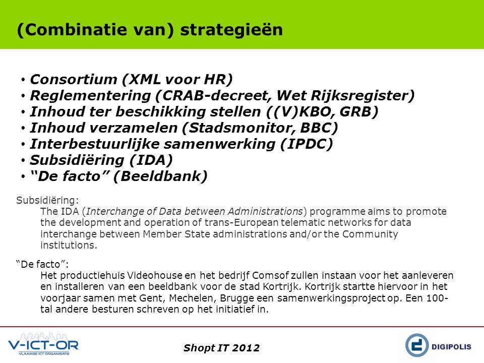 DIGIPOLIS Shopt IT 2012 (Combinatie van) strategieën De facto : Het productiehuis Videohouse en het bedrijf Comsof zullen instaan voor het aanleveren en installeren van een beeldbank voor de stad Kortrijk.