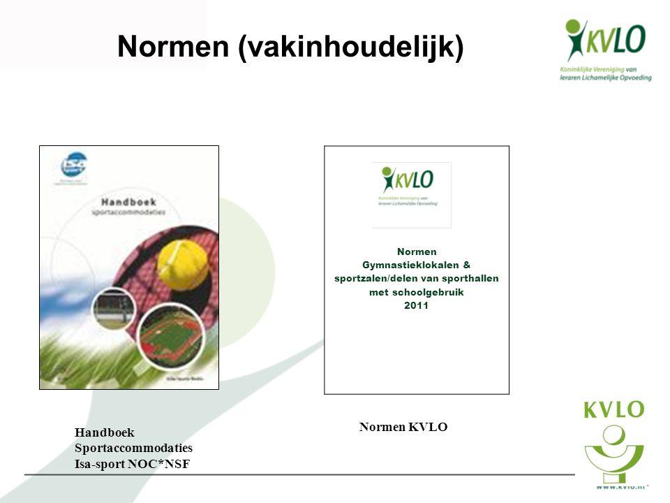 Normen (vakinhoudelijk) Normen Gymnastieklokalen & sportzalen/delen van sporthallen met schoolgebruik 2011 Handboek Sportaccommodaties Isa-sport NOC*N