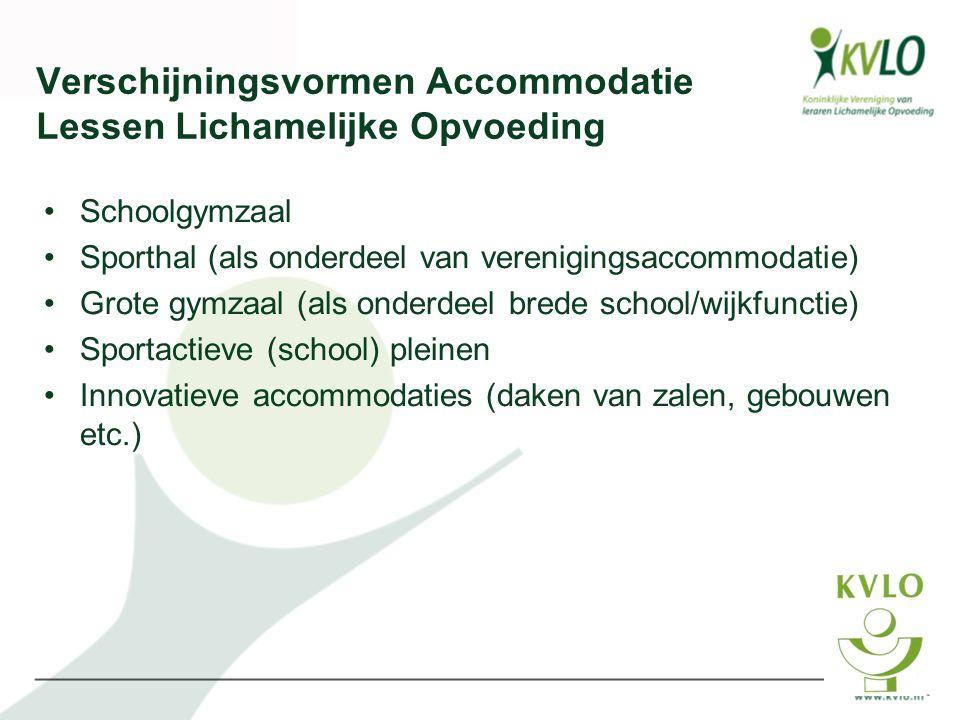 Verschijningsvormen Accommodatie Lessen Lichamelijke Opvoeding •Schoolgymzaal •Sporthal (als onderdeel van verenigingsaccommodatie) •Grote gymzaal (al