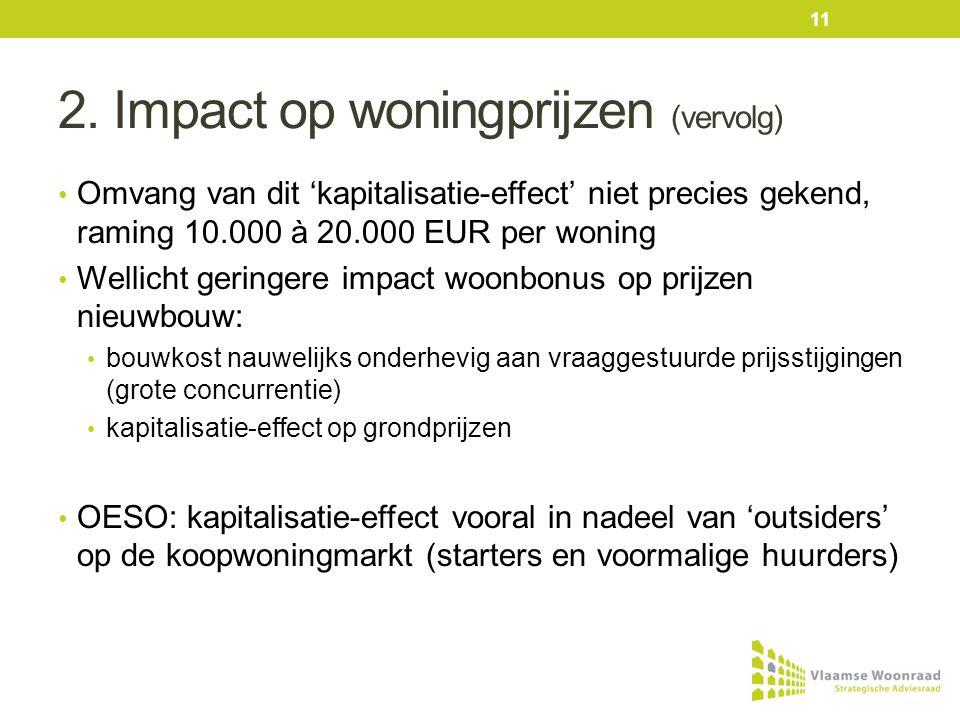 2. Impact op woningprijzen (vervolg) • Omvang van dit 'kapitalisatie-effect' niet precies gekend, raming 10.000 à 20.000 EUR per woning • Wellicht ger