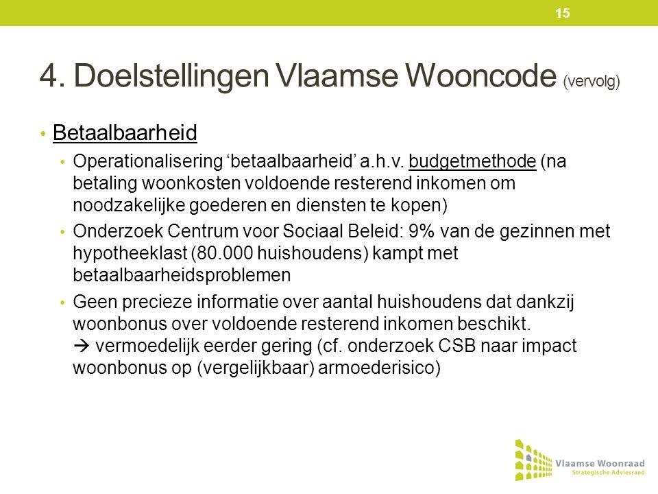 4. Doelstellingen Vlaamse Wooncode (vervolg) • Betaalbaarheid • Operationalisering 'betaalbaarheid' a.h.v. budgetmethode (na betaling woonkosten voldo