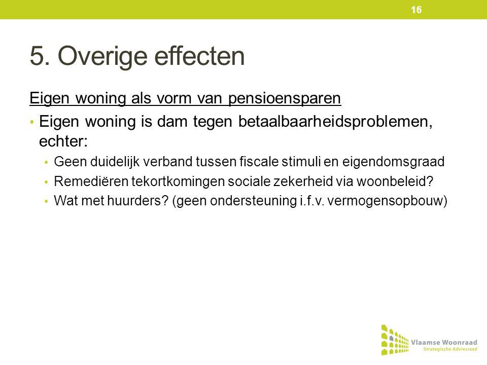 5. Overige effecten Eigen woning als vorm van pensioensparen • Eigen woning is dam tegen betaalbaarheidsproblemen, echter: • Geen duidelijk verband tu