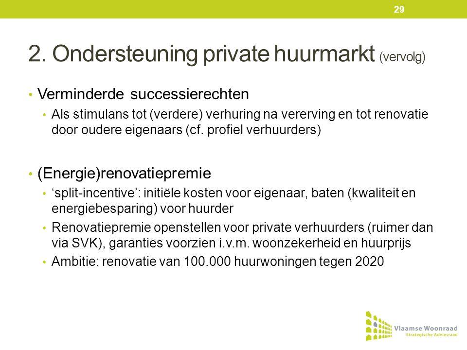2. Ondersteuning private huurmarkt (vervolg) • Verminderde successierechten • Als stimulans tot (verdere) verhuring na vererving en tot renovatie door