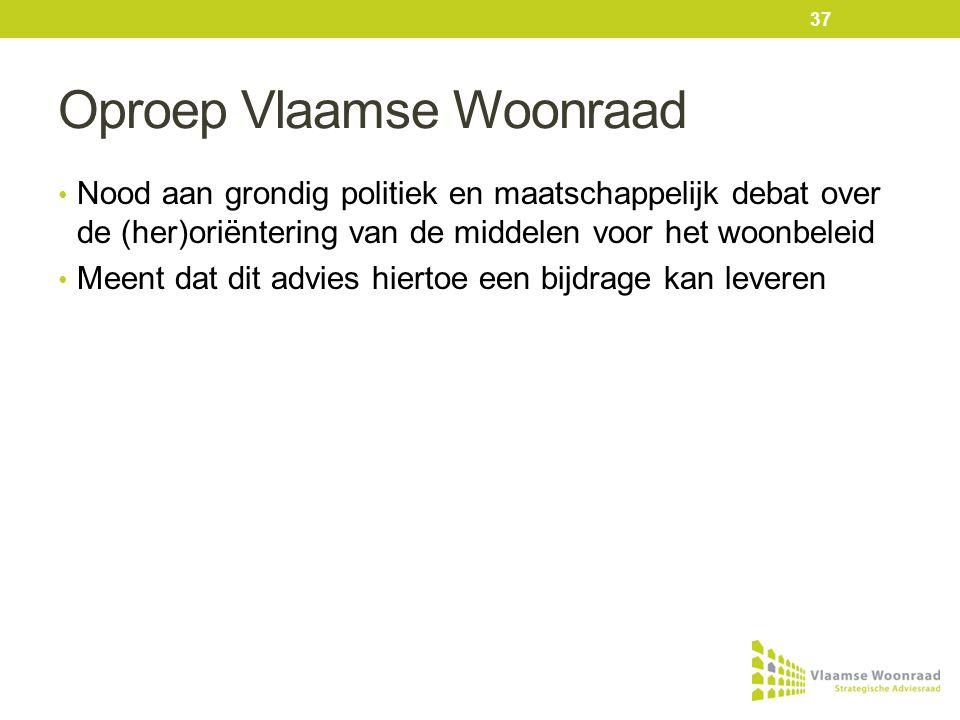 Oproep Vlaamse Woonraad • Nood aan grondig politiek en maatschappelijk debat over de (her)oriëntering van de middelen voor het woonbeleid • Meent dat dit advies hiertoe een bijdrage kan leveren 37