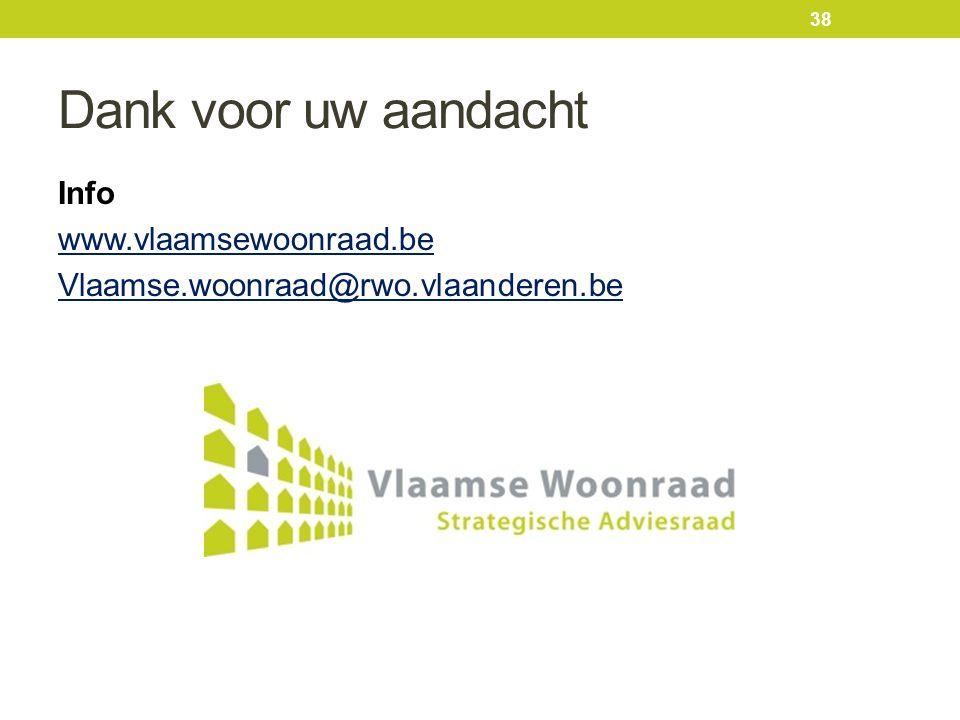 Dank voor uw aandacht Info www.vlaamsewoonraad.be Vlaamse.woonraad@rwo.vlaanderen.be 38