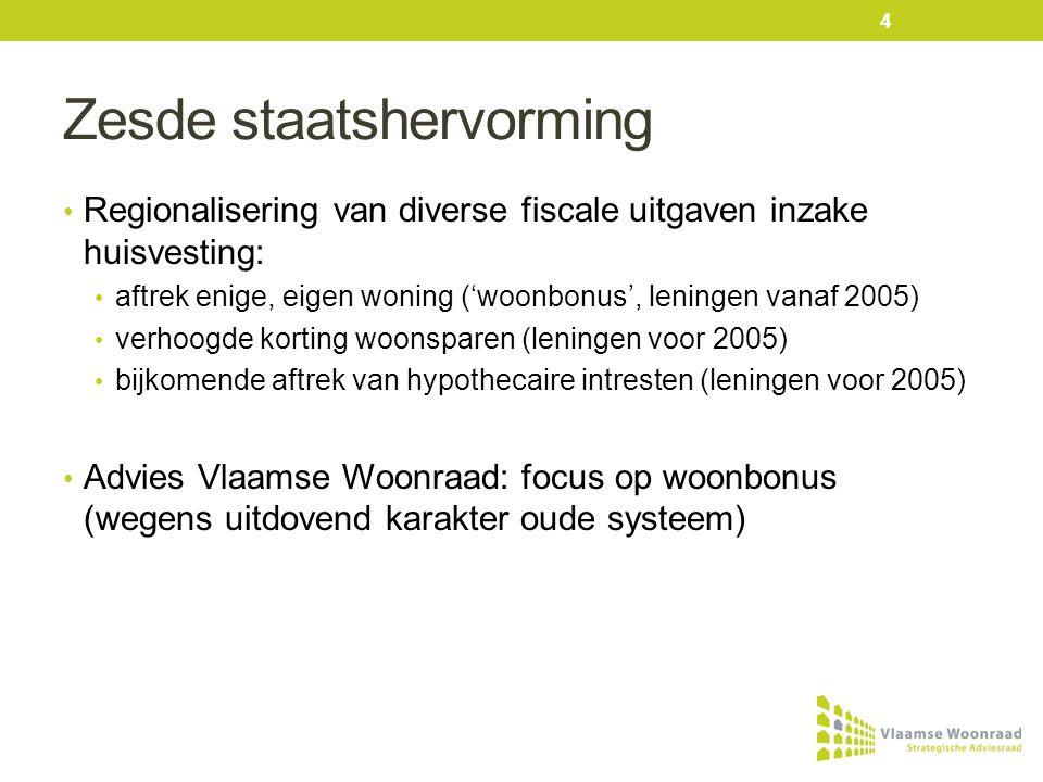 Zesde staatshervorming • Regionalisering van diverse fiscale uitgaven inzake huisvesting: • aftrek enige, eigen woning ('woonbonus', leningen vanaf 2005) • verhoogde korting woonsparen (leningen voor 2005) • bijkomende aftrek van hypothecaire intresten (leningen voor 2005) • Advies Vlaamse Woonraad: focus op woonbonus (wegens uitdovend karakter oude systeem) 4