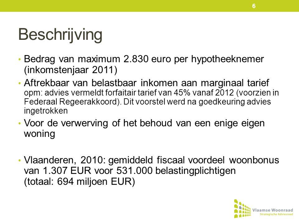 Beschrijving • Bedrag van maximum 2.830 euro per hypotheeknemer (inkomstenjaar 2011) • Aftrekbaar van belastbaar inkomen aan marginaal tarief opm: advies vermeldt forfaitair tarief van 45% vanaf 2012 (voorzien in Federaal Regeerakkoord).