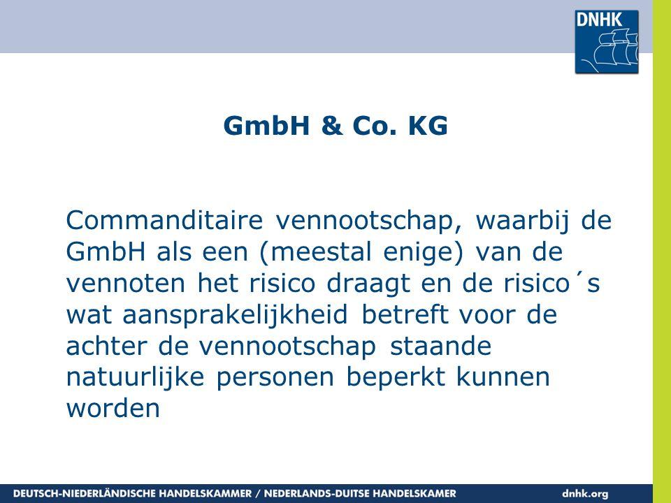 GmbH & Co. KG Commanditaire vennootschap, waarbij de GmbH als een (meestal enige) van de vennoten het risico draagt en de risico´s wat aansprakelijkhe
