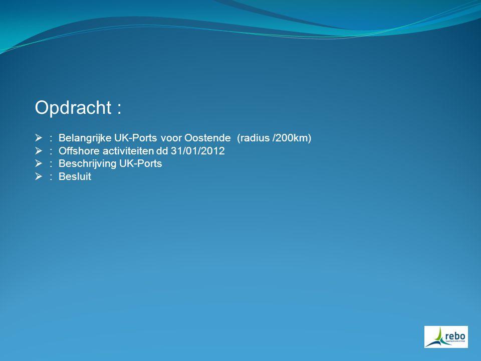 Opdracht :  : Belangrijke UK-Ports voor Oostende (radius /200km)  : Offshore activiteiten dd 31/01/2012  : Beschrijving UK-Ports  : Besluit