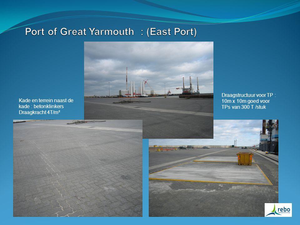 Kade en terrein naast de kade : betonklinkers Draagkracht 4T/m² Draagstructuur voor TP : 10m x 10m goed voor TPs van 300 T /stuk
