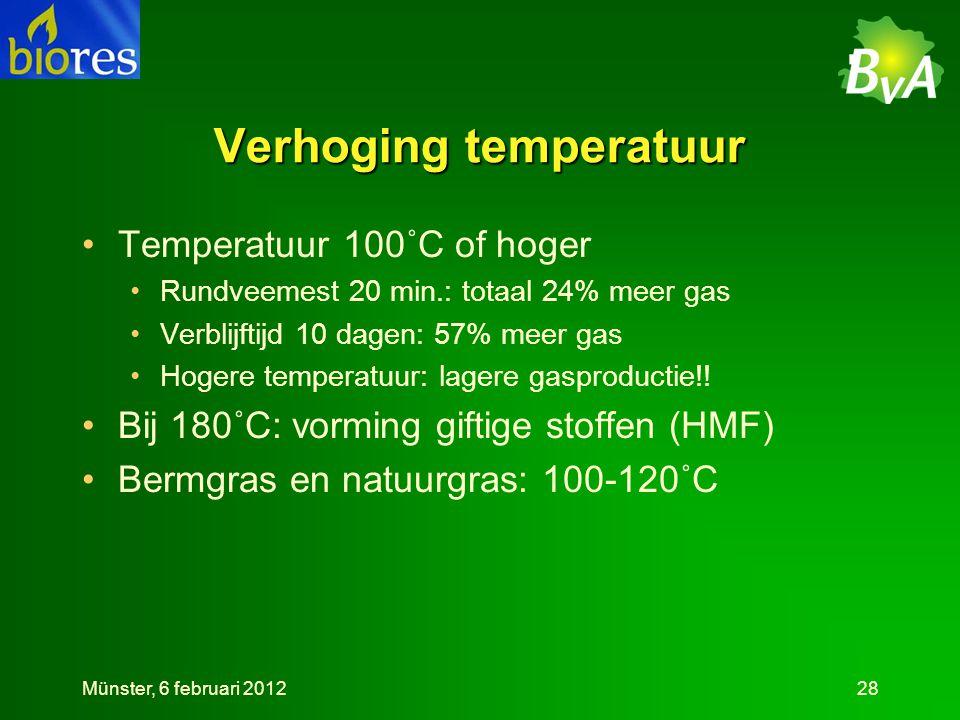 Verhoging temperatuur •Temperatuur 100˚C of hoger •Rundveemest 20 min.: totaal 24% meer gas •Verblijftijd 10 dagen: 57% meer gas •Hogere temperatuur: lagere gasproductie!.