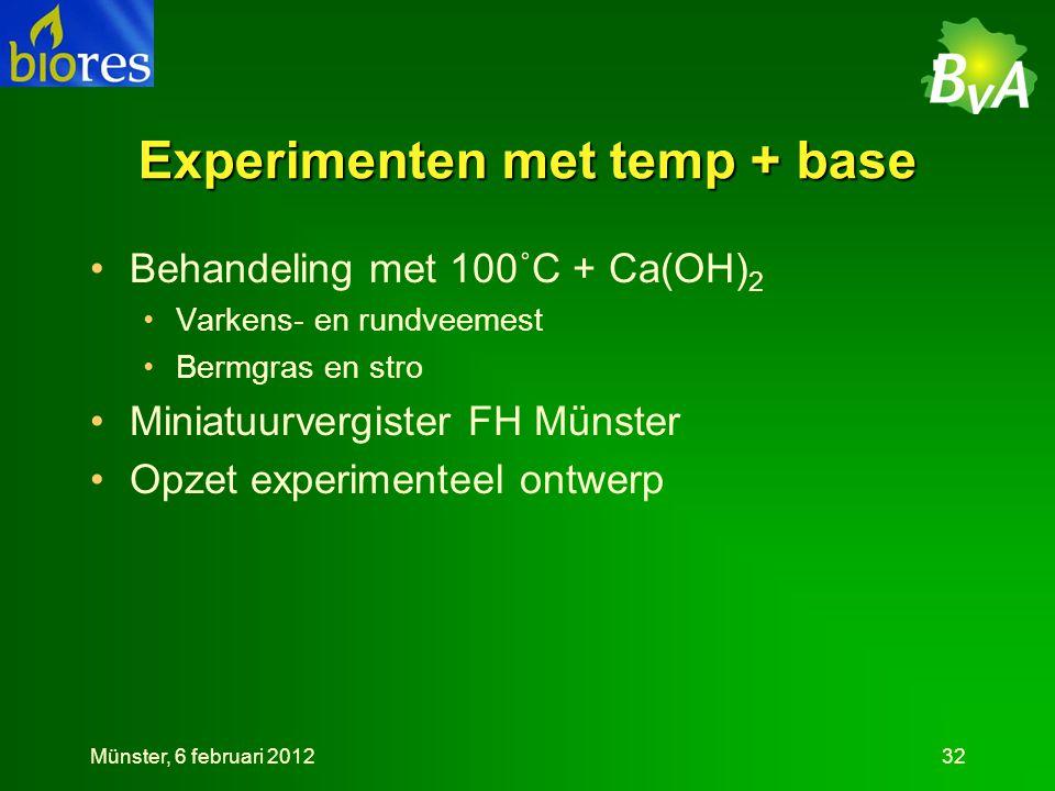 Experimenten met temp + base •Behandeling met 100˚C + Ca(OH) 2 •Varkens- en rundveemest •Bermgras en stro •Miniatuurvergister FH Münster •Opzet experimenteel ontwerp Münster, 6 februari 201232