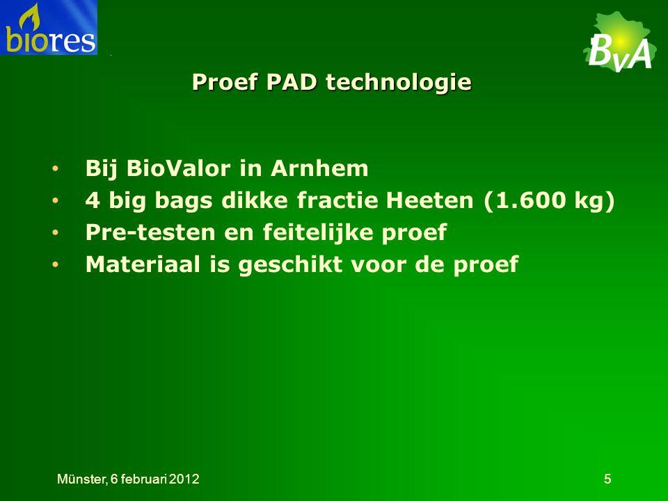 Technieken voorbehandeling •Enzymen •Zuren •Basen •Hoge temperatuur •Combinaties Münster, 6 februari 201226