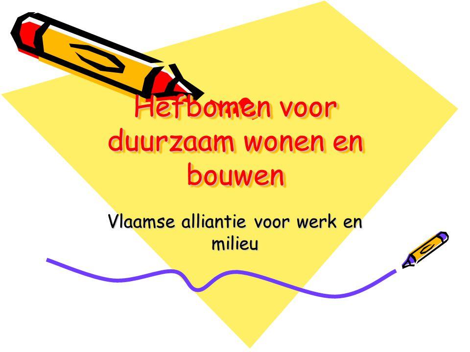 Hefbomen voor duurzaam wonen en bouwen Vlaamse alliantie voor werk en milieu