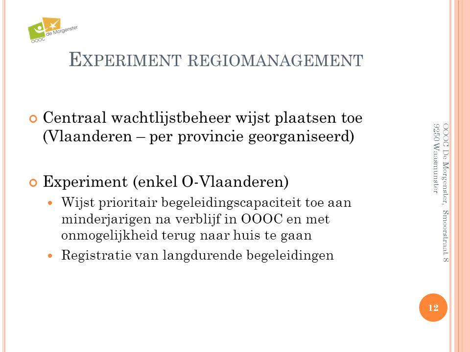 E XPERIMENT REGIOMANAGEMENT Centraal wachtlijstbeheer wijst plaatsen toe (Vlaanderen – per provincie georganiseerd) Experiment (enkel O-Vlaanderen) 