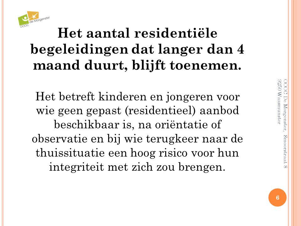 6 OOOC De Morgenster, Smoorstraat 8 9250 Waasmunster Het aantal residentiële begeleidingen dat langer dan 4 maand duurt, blijft toenemen. Het betreft