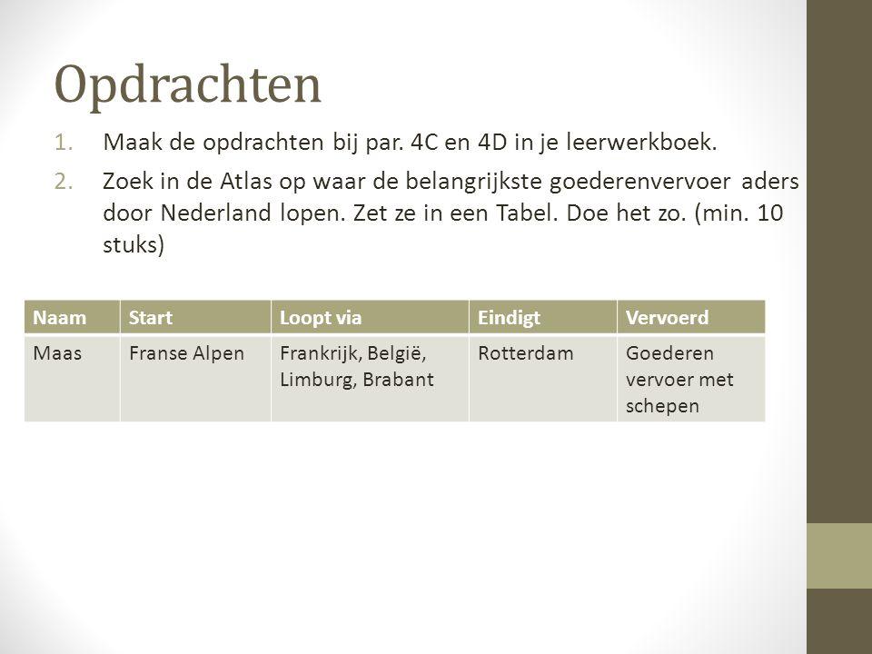 Opdrachten 1.Maak de opdrachten bij par. 4C en 4D in je leerwerkboek. 2.Zoek in de Atlas op waar de belangrijkste goederenvervoer aders door Nederland
