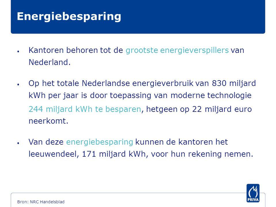• Kantoren behoren tot de grootste energieverspillers van Nederland. • Op het totale Nederlandse energieverbruik van 830 miljard kWh per jaar is door
