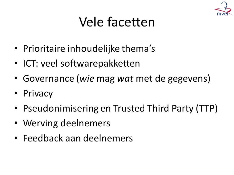 Vele facetten • Prioritaire inhoudelijke thema's • ICT: veel softwarepakketten • Governance (wie mag wat met de gegevens) • Privacy • Pseudonimisering en Trusted Third Party (TTP) • Werving deelnemers • Feedback aan deelnemers