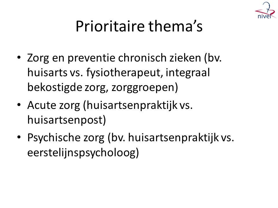 Prioritaire thema's • Zorg en preventie chronisch zieken (bv.
