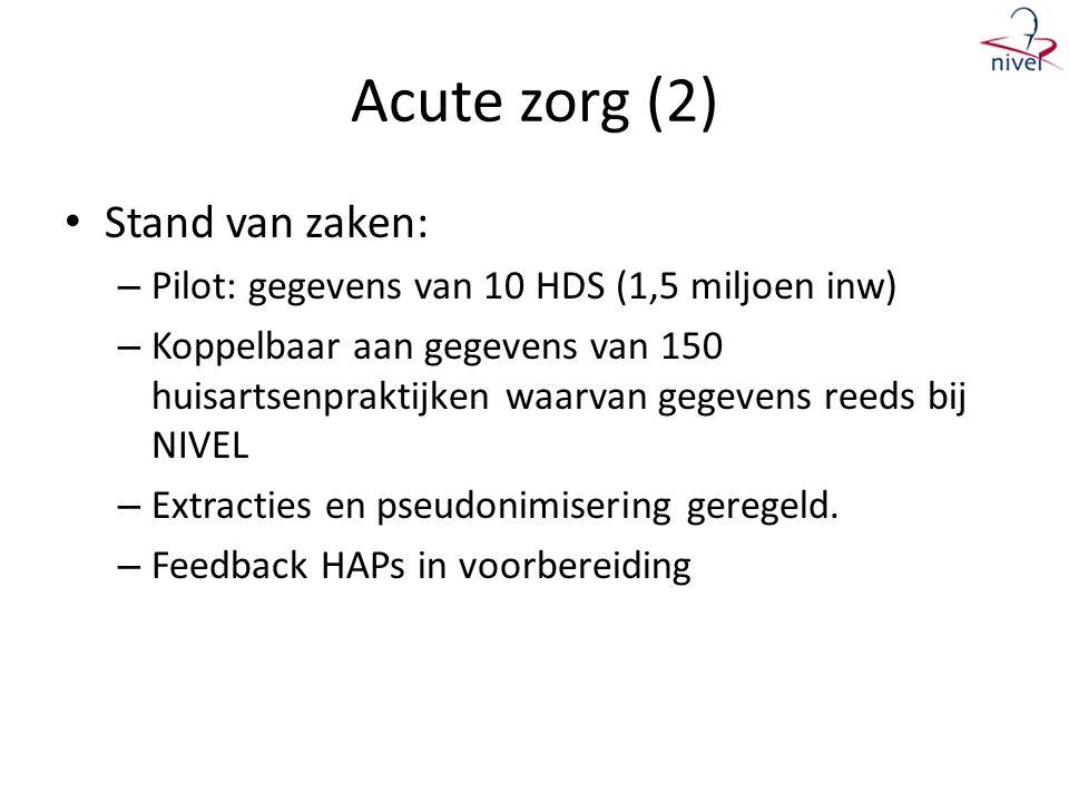 Acute zorg (2) • Stand van zaken: – Pilot: gegevens van 10 HDS (1,5 miljoen inw) – Koppelbaar aan gegevens van 150 huisartsenpraktijken waarvan gegevens reeds bij NIVEL – Extracties en pseudonimisering geregeld.