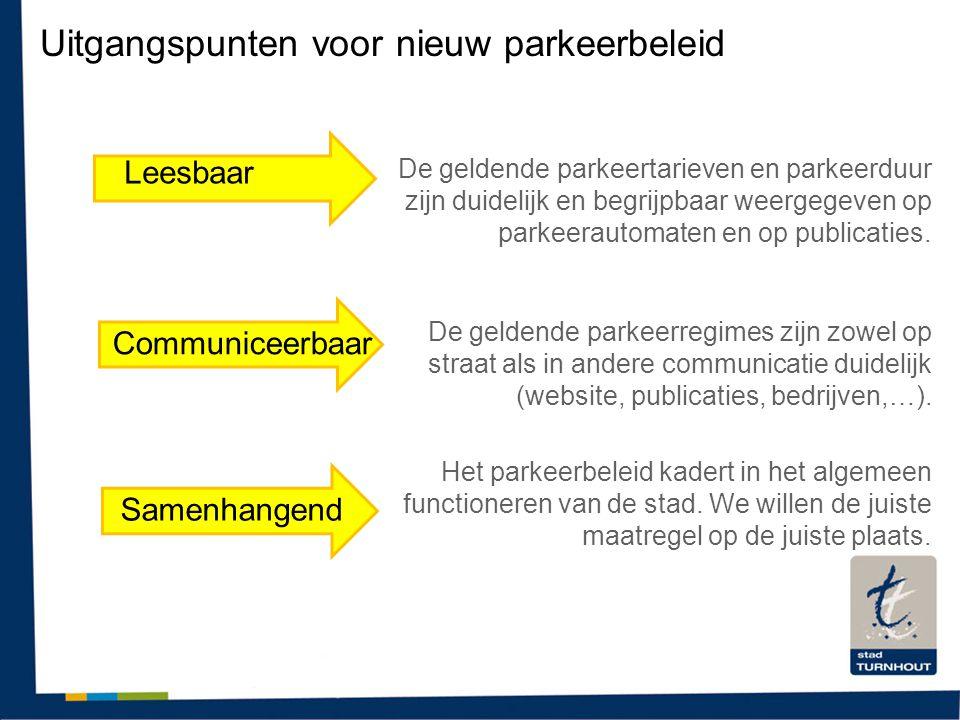 Uitgangspunten voor nieuw parkeerbeleid Leesbaar Communiceerbaar Samenhangend De geldende parkeertarieven en parkeerduur zijn duidelijk en begrijpbaar weergegeven op parkeerautomaten en op publicaties.