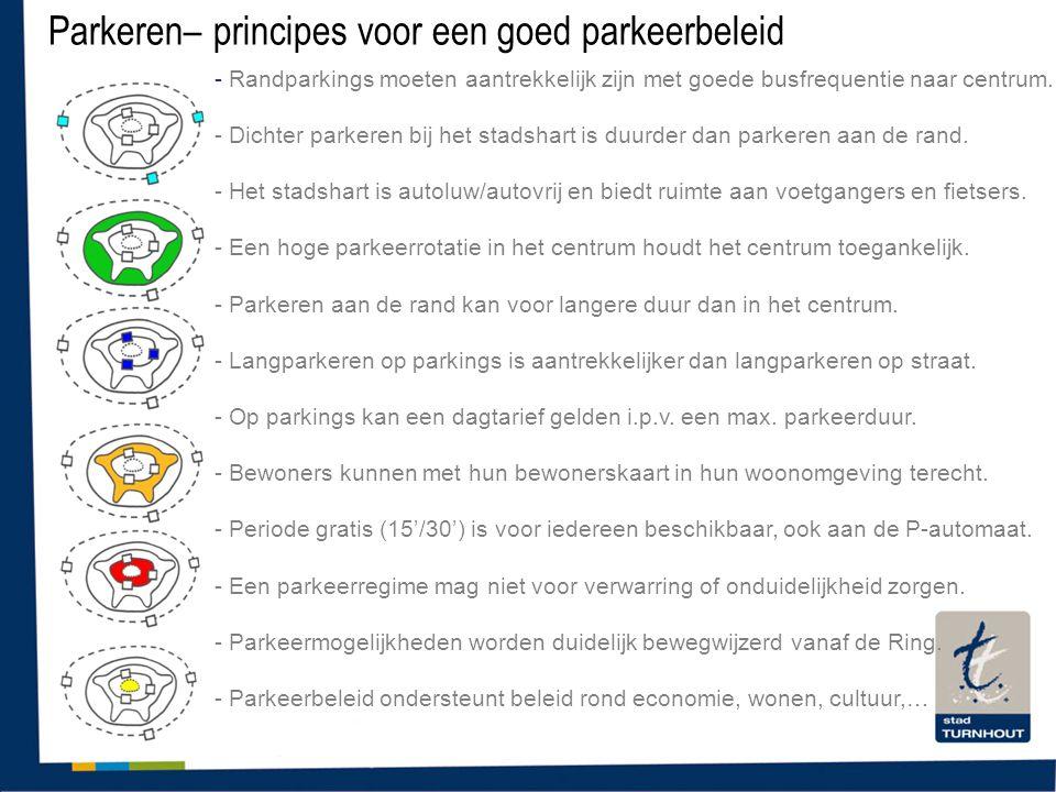 Parkeren– principes voor een goed parkeerbeleid - Randparkings moeten aantrekkelijk zijn met goede busfrequentie naar centrum. - Dichter parkeren bij