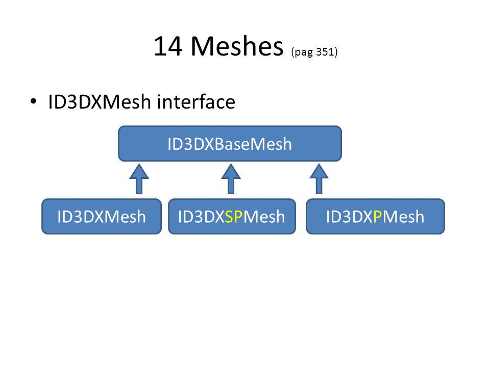 14 Meshes (pag 351) • ID3DXMesh interface ID3DXBaseMesh ID3DXMeshID3DXSPMeshID3DXPMesh