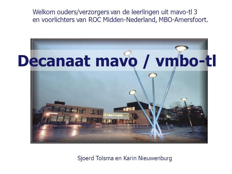 Decanaat mavo / vmbo-tl Welkom ouders/verzorgers van de leerlingen uit mavo-tl 3 en voorlichters van ROC Midden-Nederland, MBO-Amersfoort. Sjoerd Tols