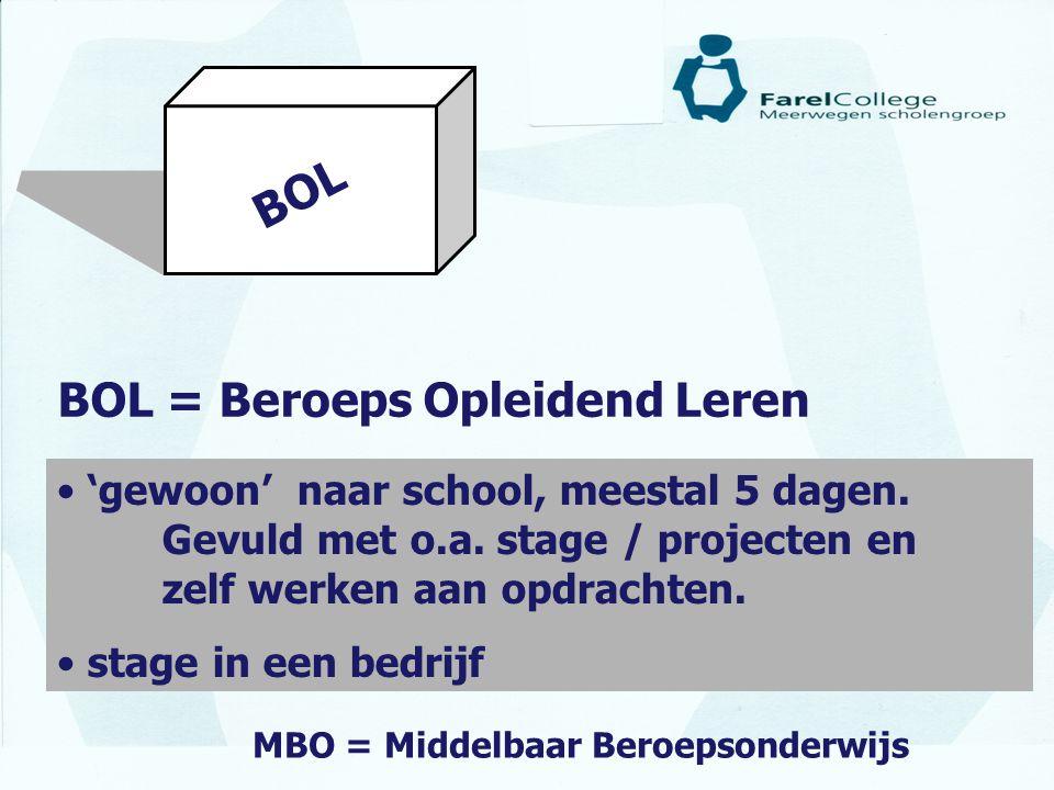 BOL BOL = Beroeps Opleidend Leren • 'gewoon' naar school, meestal 5 dagen. Gevuld met o.a. stage / projecten en zelf werken aan opdrachten. • stage in