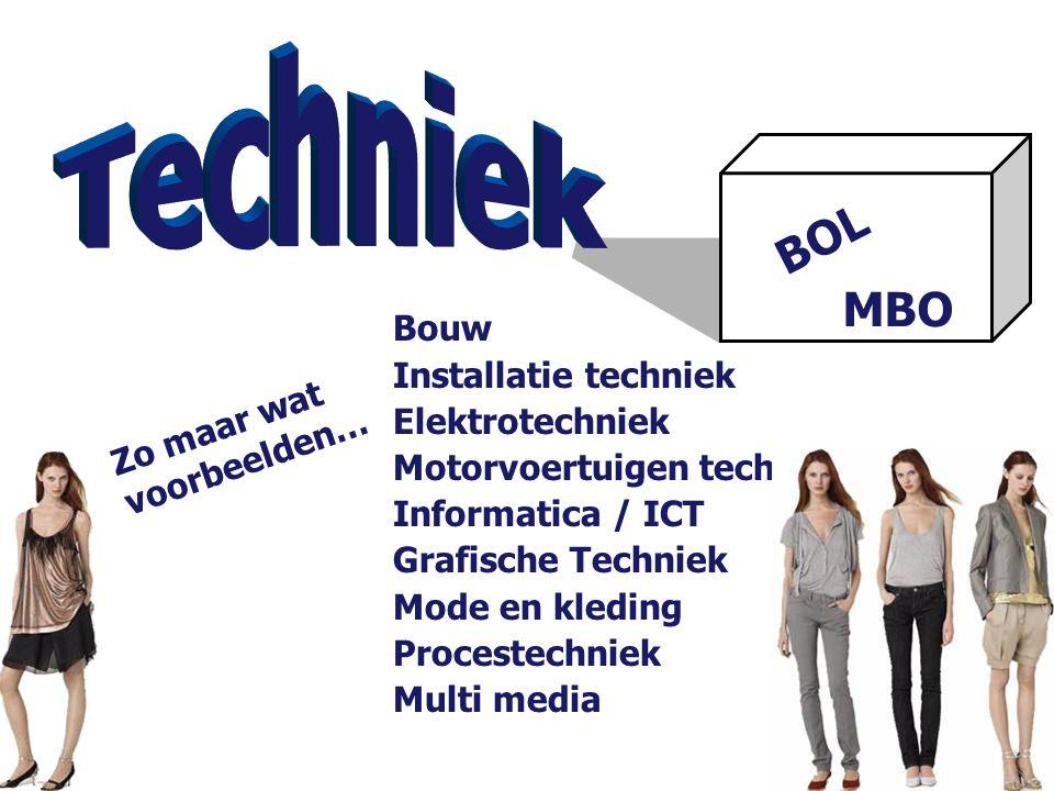 BOL MBO Bouw Installatie techniek Elektrotechniek Motorvoertuigen techniek Informatica / ICT Grafische Techniek Mode en kleding Procestechniek Multi m