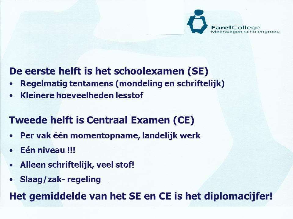 De eerste helft is het schoolexamen (SE) •Regelmatig tentamens (mondeling en schriftelijk) •Kleinere hoeveelheden lesstof Tweede helft is Centraal Exa