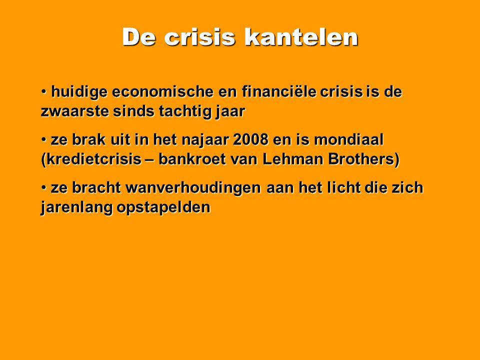 De crisis kantelen Minder werk en meer werkloosheid (Vlaanderen) Werkloosheidsgraad en evolutie (sept 08 – sept 09): Vlaanderen: 7,43% (6,07%) Oost-Vlaanderen: 7,32% (6,18%) Waas en Dender: 6,59% (5,48%) Lokeren: 7,70% (6,50%) Zele: 6,38% (5,36%) Berlare: 5,32% (4,42%) Dendermonde: 6,00% (5,02%) Sint-Niklaas: 7,09% (5,88%)