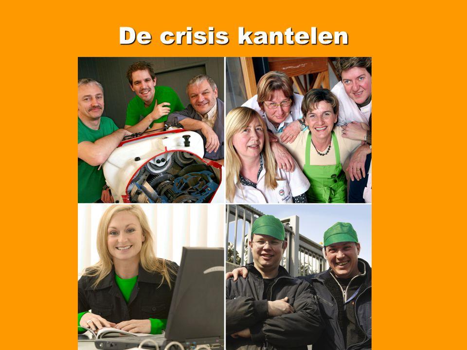 De crisis kantelen Minder werk en meer werkloosheid (Vlaanderen) Werkloosheid < 25 jaar, evolutie en aandeel (sept 08 – sept 09): Vlaanderen: +29,4% (25,1%) Oost-Vlaanderen: +21,8% (24,7%) Waas en Dender: +28,5% (27,0%) Lokeren: + 32,7% (25,9%) Zele: + 38,8% (29,8%) Berlare: +17,7% (24,2%) Dendermonde: +29,7% (26,8%) Sint-Niklaas: +27,7% (27,1%)