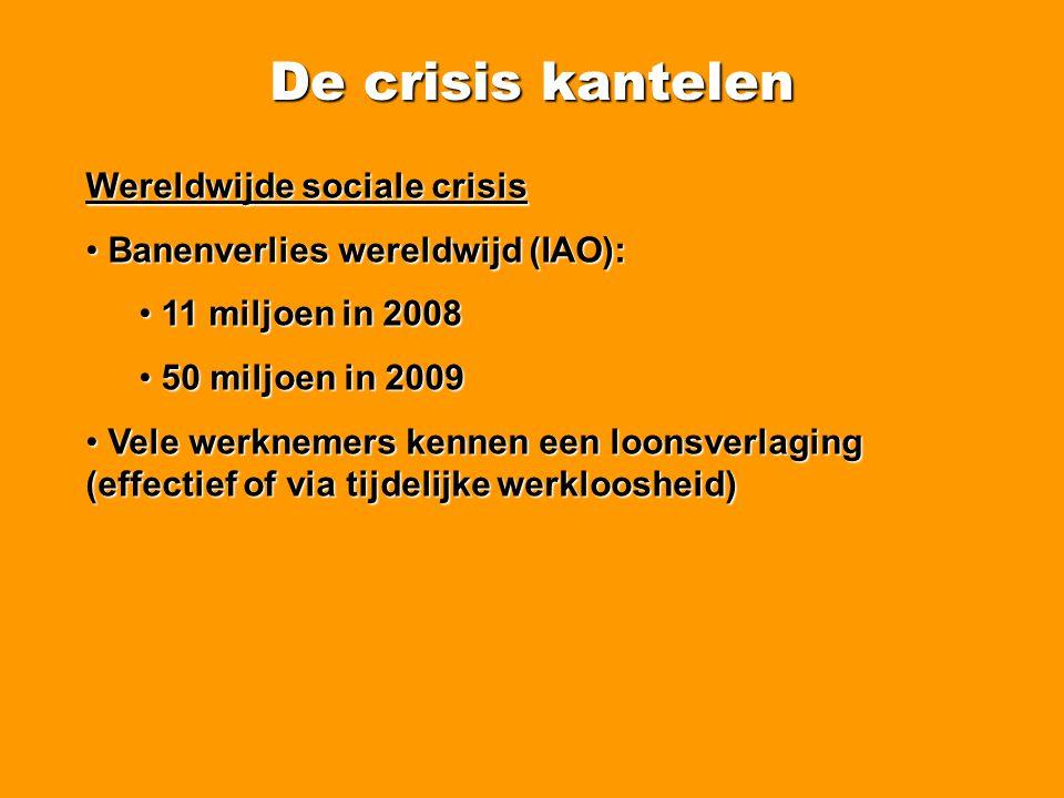 De crisis kantelen Minder werk en meer werkloosheid • Groei werkgelegenheid in België reeds sterk vertraagd in 2008.