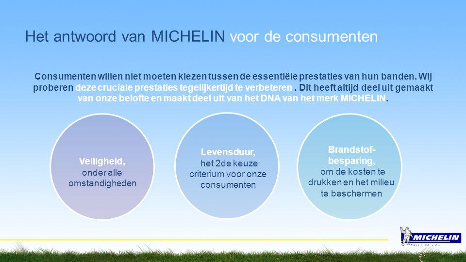 Het antwoord van MICHELIN voor de consumenten Consumenten willen niet moeten kiezen tussen de essentiële prestaties van hun banden. Wij proberen deze