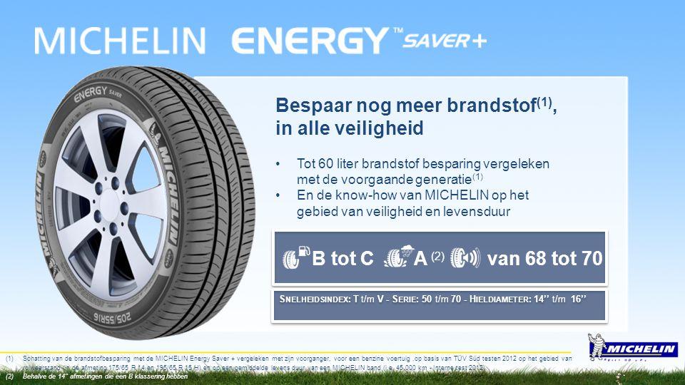 B tot CA (2) van 68 tot 70 Bespaar nog meer brandstof (1), in alle veiligheid •Tot 60 liter brandstof besparing vergeleken met de voorgaande generatie
