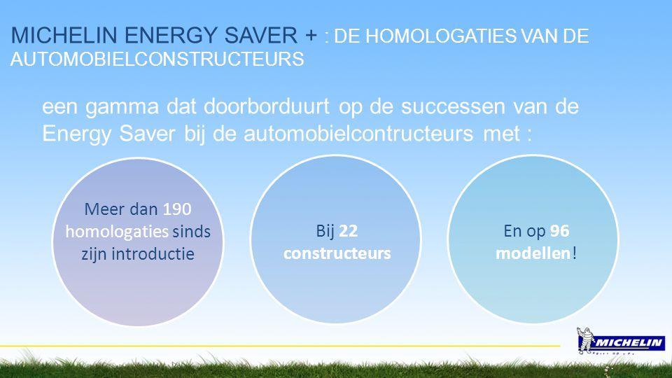 MICHELIN ENERGY SAVER + : DE HOMOLOGATIES VAN DE AUTOMOBIELCONSTRUCTEURS een gamma dat doorborduurt op de successen van de Energy Saver bij de automob