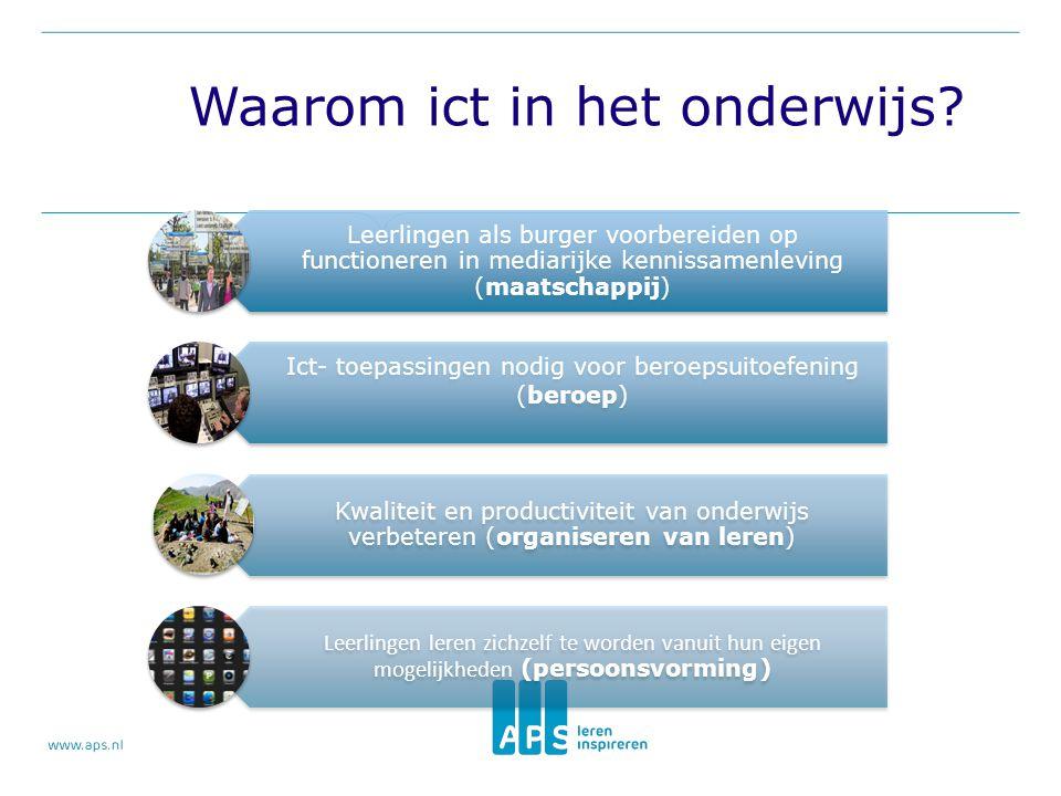 Leerlingen als burger voorbereiden op functioneren in mediarijke kennissamenleving (maatschappij) Ict- toepassingen nodig voor beroepsuitoefening (ber