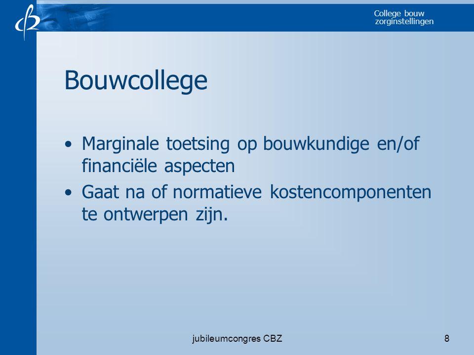 College bouw zorginstellingen jubileumcongres CBZ8 Bouwcollege •Marginale toetsing op bouwkundige en/of financiële aspecten •Gaat na of normatieve kos