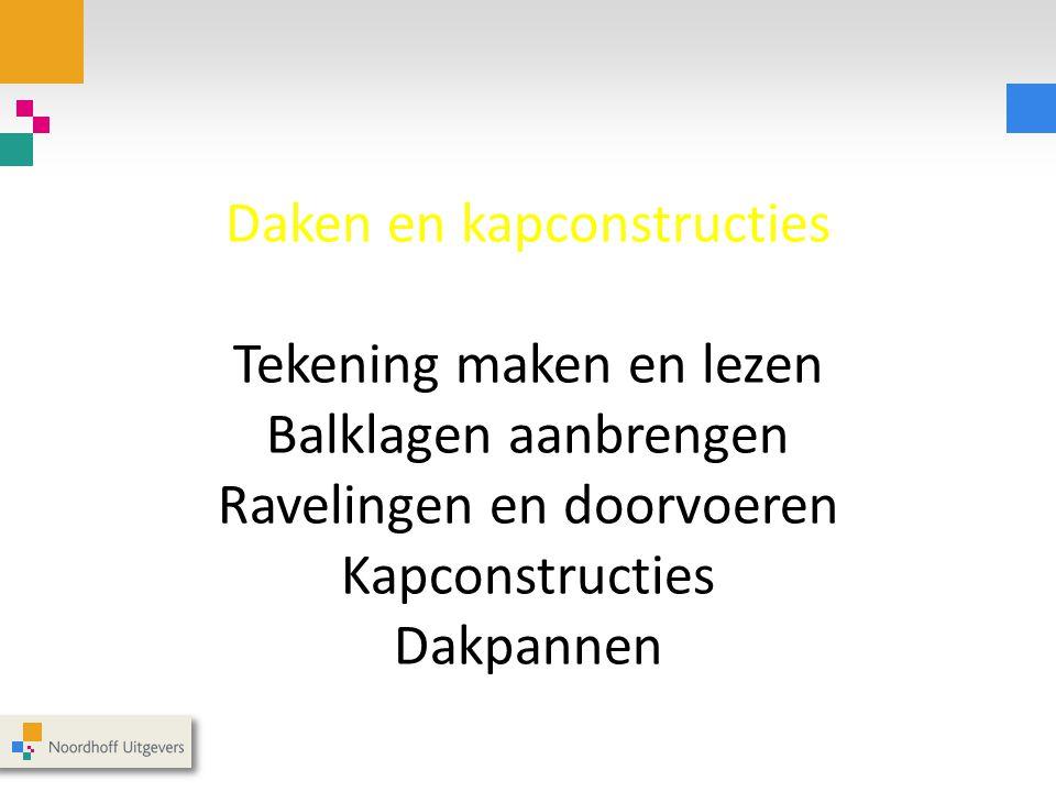 Daken en kapconstructies Tekening maken en lezen Balklagen aanbrengen Ravelingen en doorvoeren Kapconstructies Dakpannen