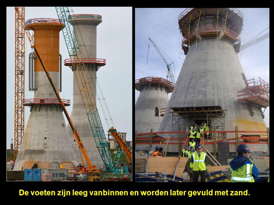 De zeekabels (150kV) tussen offshore transformatorplatform en het openbare 150kV net aan land staan in voor het transport van de geproduceerde energie.