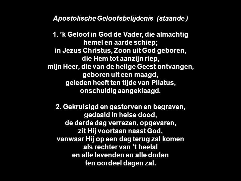 Apostolische Geloofsbelijdenis (staande ) 1. 'k Geloof in God de Vader, die almachtig hemel en aarde schiep; in Jezus Christus, Zoon uit God geboren,