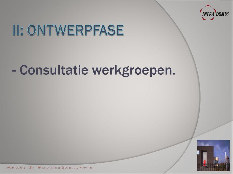 - Consultatie werkgroepen.