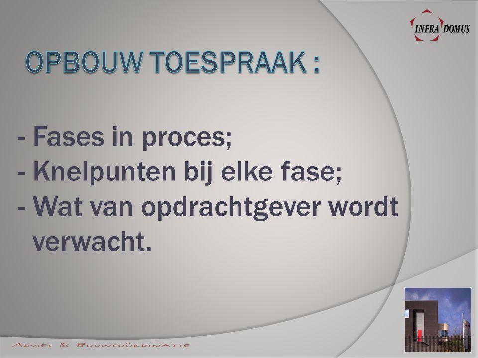 - I: Initiatieffase; - II:Ontwerpfase (VO en DO); - III:Bestekfase; - IV:Uitvoeringsfase; - V:Gebruiksfase.