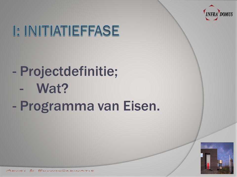- Projectdefinitie; -Wat? - Programma van Eisen.